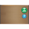 "Quartet® Prestige® Colored Cork Bulletin Board - 36"" Height x 48"" Width - Brown Cork Surface - Maple Frame - 1 / Each"