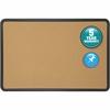 "Quartet® Contour® Cork Bulletin Board - 36"" Height x 48"" Width - Brown Natural Cork Surface - Black Frame - 1 / Each"