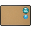 "Quartet® Contour® Cork Bulletin Board - 24"" Height x 36"" Width - Brown Natural Cork Surface - Black Frame - 1 / Each"