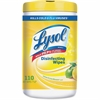 "Lysol Disinfecting Wipes - Lemon, Lime Blossom - 8"" x 7"" - White - Perfumed, Bleach-free, Alcohol-free, Disinfectant, Anti-bacterial, Pre-moistened - For Multipurpose - 110 Sheets Per Canister - 6 / C"