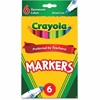 Crayola Crayola Waterbased Marker - Conical Point Style - Dark Green, Fluorescent Yellow, Pink, Flaming Orange, Electric Blue, Hot Pink Water Based Ink - 6 / Pack