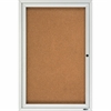 "Quartet® Enclosed Cork Bulletin Board for Outdoor Use - 36"" Height x 24"" Width - Brown Cork Surface - Silver Frame - 1 / Each"