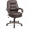 "Lorell Westlake Series Mid Back Management Chair - Leather Saddle Seat - Polyurethane Frame - Saddle - 21"" Seat Width x 20.50"" Seat Depth - 26"" Width x 27"" Depth x 43.5"" Height"