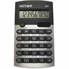 """Victor 907 Metric Conversion Calculator - 20 Functions - 10 Digits - Battery/Solar Powered - 0.4"""" x 2.6"""" x 4.5"""" - Black, Silver - 1 Each"""