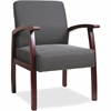 "Lorell Deluxe Guest Chair - Mahogany Frame - Charcoal - 24"" Width x 25"" Depth x 35.5"" Height"