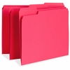 "Business Source Color-coding Top Tab File Folder - Letter - 8 1/2"" x 11"" Sheet Size - 1/3 Tab Cut - Assorted Position Tab Location - 11 pt. Folder Thickness - Red - Recycled - 100 / Box"