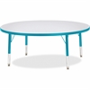 "Berries Toddler Height Color Edge Round Table - Round Top - Four Leg Base - 4 Legs - 1.13"" Table Top Thickness x 48"" Table Top Diameter - 15"" Height - Assembly Required - Powder Coated"