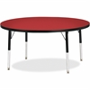 "Berries Elementary Height Color Top Round Table - Round Top - Four Leg Base - 4 Legs - 1.13"" Table Top Thickness x 48"" Table Top Diameter - 24"" Height - Assembly Required - Powder Coated"