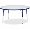 "Berries Elementary Height Color Edge Round Table - Round Top - Four Leg Base - 4 Legs - 1.13"" Table Top Thickness x 48"" Table Top Diameter - 24"" Height - Assembly Required - Freckled Gray Laminate, Th"