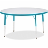 "Berries Adult Height Color Edge Round Table - Round Top - Four Leg Base - 4 Legs - 1.13"" Table Top Thickness x 48"" Table Top Diameter - 31"" Height - Assembly Required - Powder Coated"