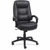 "Lorell Westlake High Back Executive Chair - Leather Black Seat - Polyurethane Black Frame - Black - 26.5"" Width x 28.5"" Depth x 47.5"" Height"