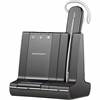 Plantronics SAVI 740 Wireless Headset System - Mono - Black, Silver - Wireless - Over-the-ear, Over-the-head - Monaural - In-ear - Yes