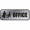 "COSCO Brushed Metal Office Sign - 1 Each - Office Print/Message - 3"" Width x 9"" Height - Rectangular Shape - Metal - Silver"