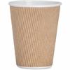 Genuine Joe Ripple Hot Cups - 12 oz - 25 / Pack - Brown - Hot Drink