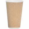 Genuine Joe Ripple Hot Cup - 16 oz - 500 / Carton - Brown - Hot Drink