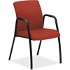 "HON Poppy Guest Chair w/ Arm - Fabric Cranberry Seat - Fabric Cranberry Back - Steel Frame - Four-legged Base - Crimson Red - Wood - 19.50"" Seat Width x 16.75"" Seat Depth - 24"" Width x 23"" Depth x 35."