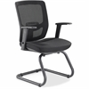 "Lorell Variable-Resist Lumbar Guest Chair with Arms - Black Seat - Black Back - Metal Frame - 24"" Width x 23.8"" Depth x 36.3"" Height"