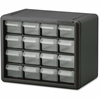 "Akro-Mils 16-Drawer Plastic Storage Cabinet - 16 Drawer(s) - 8.5"" Height x 6.4"" Width - Floor, Wall Mountable - Black, Clear - Polymer, Plastic - 1Each"
