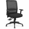 "Lorell Executive High-Back Mesh Multifunction Chair - Fabric Black Seat - Black Back - Steel Frame - 5-star Base - Black - 28.1"" Width x 22.5"" Depth x 45"" Height"