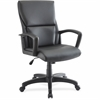 "Lorell Euro Design Leather Exec. Mid-back Chair - Bonded Leather Black Seat - Bonded Leather Black Back - 5-star Base - Black - 20"" Seat Width x 18.25"" Seat Depth - 27.3"" Width x 28.3"" Depth x 47.5"" H"