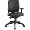 "Lorell Adj. Arms Leather Exec. Mid-back Chair - Bonded Leather Black, Plastic Seat - Bonded Leather Black, Plastic Back - 5-star Base - 20.50"" Seat Width x 18.50"" Seat Depth - 27.3"" Width x 26.5"" Dept"