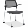 "Lorell Fixed Arms Stackable Guest Chairs - Black Seat - Black Back - Metal Powder Coated Frame - Four-legged Base - 24.5"" Width x 23.5"" Depth x 32.5"" Height"