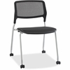 "Lorell Stackable Guest Chairs - Black Seat - Black Back - Metal Powder Coated Frame - Four-legged Base - 22.3"" Width x 23.5"" Depth x 32.5"" Height"
