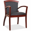 "Lorell Arched Arms Wood Guest Chair - Bonded Leather Black Seat - Bonded Leather Black Back - Wood Cherry Frame - Four-legged Base - 20.13"" Seat Width x 19.13"" Seat Depth - 23.3"" Width x 24.4"" Depth x"