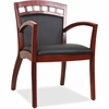 "Lorell Crowning Accent Wood Guest Chair - Bonded Leather Black Seat - Bonded Leather Black Back - Wood Cherry Frame - Four-legged Base - Black - 20.13"" Seat Width x 19.13"" Seat Depth - 23.3"" Width x 2"