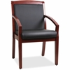 "Lorell Sloping Arms Wood Guest Chair - Bonded Leather Black Seat - Bonded Leather Black Back - Wood Cherry Frame - Four-legged Base - 20.13"" Seat Width x 17.38"" Seat Depth - 23.3"" Width x 24.4"" Depth"