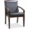 "Lorell Sloping Arms Wood Guest Chair - Bonded Leather Black Seat - Bonded Leather Black Back - Wood Espresso Frame - Four-legged Base - Black - 20.13"" Seat Width x 17.38"" Seat Depth - 23.3"" Width x 24"