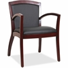 "Lorell Arched Arms Wood Guest Chair - Bonded Leather Black Seat - Bonded Leather Black Back - Wood Mahogany Frame - Four-legged Base - Black - 20.13"" Seat Width x 19.13"" Seat Depth - 23.3"" Width x 24."