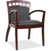 "Lorell Crowning Accent Wood Guest Chair - Bonded Leather Black Seat - Bonded Leather Black Back - Wood Mahogany Frame - Four-legged Base - 20.13"" Seat Width x 19.13"" Seat Depth - 23.3"" Width x 24.4"" D"