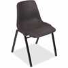 "Lorell Plastic Stacking Chairs - Polypropylene Black Seat - Polypropylene Black Back - Metal Black, Powder Coated Frame - Arched Base - 19.3"" Width x 19.3"" Depth x 31"" Height"