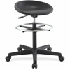 "Lorell Chromed Footring Adjustable Stool - Polyurethane Black Seat - 5-star Base - Black - 24.3"" Width x 24.3"" Depth x 28.5"" Height"