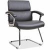 """Lorell Sled Base Leather Guest Chair - Bonded Leather Black Seat - Black Back - Sled Base - Black - Leather - 19.13"""" Seat Width x 17.75"""" Seat Depth - 35.4"""" Width x 26.1"""" Depth x 35"""" Height"""