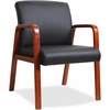 "Lorell Black Leather Wood Frame Guest Chair - Bonded Leather Black Seat - Bonded Leather Black Back - Solid Wood Cherry Frame - Four-legged Base - 20.88"" Seat Width x 17.38"" Seat Depth - 24"" Width x 2"