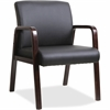 "Lorell Black Leather Wood Frame Guest Chair - Bonded Leather Black Seat - Bonded Leather Black Back - Solid Wood Espresso Frame - Four-legged Base - 20.88"" Seat Width x 17.38"" Seat Depth - 24"" Width x"
