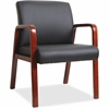 "Black Leather Wood Frame Guest Chair - Bonded Leather Black Seat - Bonded Leather Black Back - Solid Wood Mahogany Frame - Four-legged Base - 20.88"" Seat Width x 17.38"" Seat Depth - 24"" Width x"