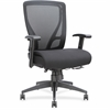 "Lorell Fabric Seat Mesh Mid-back Chair - Fabric Black Seat - Black Back - Plastic Frame - 5-star Base - Black - 20"" Seat Width x 17.38"" Seat Depth - 27"" Width x 25.6"" Depth x 42.5"" Height"