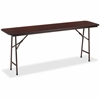 "Lorell Mahogany Folding Banquet Table - Rectangle Top - 72"" Table Top Width x 18"" Table Top Depth x 0.62"" Table Top Thickness"