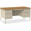"Lorell Fortress Series Double-Pedestal Desk - Rectangle Top - 2 Pedestals - 60"" Table Top Width x 30"" Table Top Depth x 1.12"" Table Top Thickness - 29.50"" Height - Assembly Required - Oak, Oak Laminat"