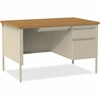 """Lorell Fortress Series 48"""" Right Single-Pedestal Desk - Rectangle Top - 1 Pedestals - 30"""" Table Top Length x 48"""" Table Top Width x 1.13"""" Table Top Thickness - 29.50"""" Height - Oak, Putty - Steel"""