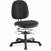 "Lorell Contoured Back Swivel Stool - Plastic Black, Fabric Seat - Plastic Black, Fabric Back - 5-star Base - Black - 24.3"" Width x 25.8"" Depth x 43.8"" Height"