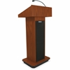 "AmpliVox Executive Sound Column Lectern - 20.75"" Table Top Width x 16.50"" Table Top Depth - 47"" Height x 22"" Width x 18"" Depth - Assembly Required - High Pressure Laminate (HPL), Medium Oak"
