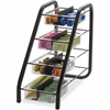 """BreakCentral Vertical Condiment Tray - 8 Compartment(s) - 15.8"""" Height x 7.6"""" Width x 18.4"""" Depth - Counter - Black, Clear - Metal - 1Each"""