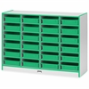 "Rainbow Accents Paper-Tray Storage - 24 Compartment(s) - 35.5"" Height x 48"" Width x 15"" Depth - Green - Rubber - 1Each"