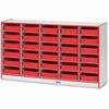 "Rainbow Accents Paper-Tray Storage - 30 Compartment(s) - 35.5"" Height x 60"" Width x 15"" Depth - Red - Rubber - 1Each"