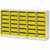 "Rainbow Accents Paper-Tray Storage - 30 Compartment(s) - 35.5"" Height x 60"" Width x 15"" Depth - Yellow - Rubber - 1Each"