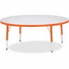 "Berries Toddler Height Color Edge Round Table - Round Top - Four Leg Base - 4 Legs - 1.13"" Table Top Thickness x 48"" Table Top Diameter - 15"" Height - Assembly Required - Powder Coated - Steel"
